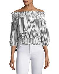 Caroline Constas - Lou Stripe Off-shoulder Top - Lyst