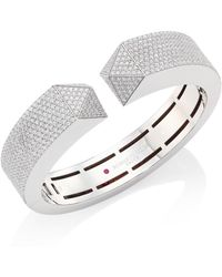 Roberto Coin - Prive Pyramid Pave Diamond & 18k White Gold Bangle - Lyst