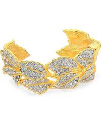 Kenneth Jay Lane - 22k Goldplated Leaves Cuff Bracelet - Lyst