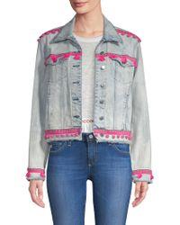 Generation Love - Fran Pom Pom Cropped Denim Jacket - Lyst