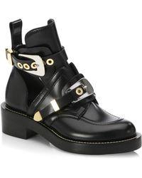 Balenciaga - Cutout Leather Creeper Boots - Lyst