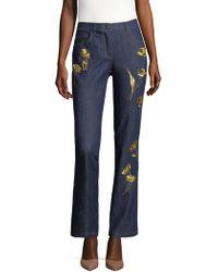 ESCADA - Floral Embroidered Denim Jeans - Lyst