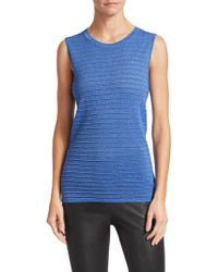 Saks Fifth Avenue - Collection Ribbed Sleeveless Merino Lurex Top - Lyst