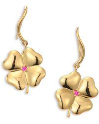 Aurelie Bidermann   Clover Ruby & 18k Yellow Gold Drop Earrings   Lyst