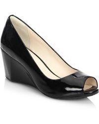 Cole Haan - Sadie Ot Patent Leather Peep Toe Wedge Pumps - Lyst