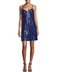 Tommy Hilfiger - Women s Tartan Sequin Slip Dress - Blue - Size 12 - Lyst acdc6a24d