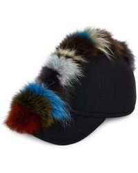 House of Lafayette - Multi Fox Fur And Wool Baseball Cap - Lyst