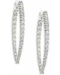 Melissa Kaye - Christina Medium Diamond & 18k White Gold Hoop Earrings/1.25 - Lyst