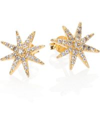 Elizabeth and James - Compass Rose Pave White Topaz Stud Earrings - Lyst