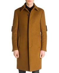 Fendi - Shearling-detail Wool Coat - Lyst