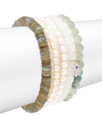 Sydney Evan - Small Hamsa Diamond, Faux Pearl & 14k White Gold Beaded Pendant Bracelet - Lyst