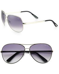 Tom Ford - Charles 62mm Aviator Sunglasses/palladium - Lyst