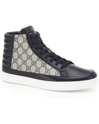 358bfc149b8 Gucci - Men s GG Supreme High-top Sneaker - Blue Multi - Lyst