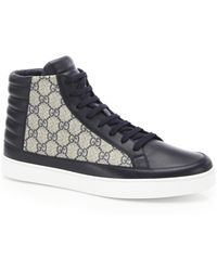 Gucci - Supreme Leather & Canvas High-top Sneakers - Lyst