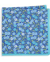 Ike Behar - Aqua Floral Pocket Square - Lyst