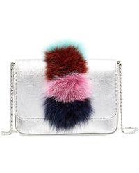 Loeffler Randall - Lock Fox Fur Trimmed Leather Shoulder Bag - Lyst