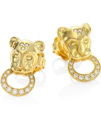 Temple St. Clair - Lion Cub Diamond & 18k Yellow Gold Stud Earrings - Lyst