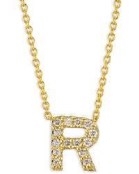 Roberto Coin - Tiny Treasures Diamond & 18k Yellow Gold Letter R Necklace - Lyst