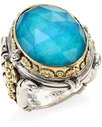 Konstantino - Iliada Chrysocolla Doublet, Sterling Silver & 18k Yellow Gold Doublet Ring - Lyst