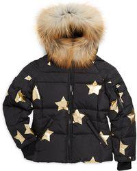 Sam. - Girl's Blake Star Fox Fur-trim Down Puffer Jacket - Lyst