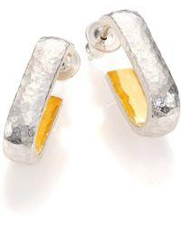 """Gurhan - Hoopla 24k Yellow Gold & Sterling Silver Geometric Hoop Earrings/0.8"""" - Lyst"""