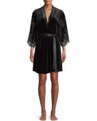 Natori - Velvet & Lace Short Wrap Robe - Lyst