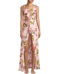 Sinesia Karol - Women's Botanical Garden Leah Silk Cover-up Dress - Cacaue - Size Large - Lyst