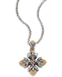Konstantino - Hebe 18k Yellow Gold & Sterling Silver Floral Cross Pendant Necklace - Lyst