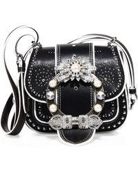 Miu Miu | Dahlia Jewel-buckle Studded Leather Shoulder Bag | Lyst