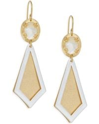 Stephanie Kantis - Ego Two-tone Brushed Gold & Mother-of-pearl Earrings - Lyst