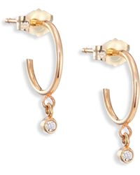 Zoe Chicco - Tiny Diamond & 14k Yellow Gold Hoop Earrings/0.3 - Lyst