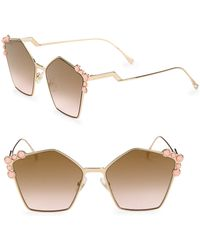 Fendi - 57mm Embellished Pentagon Sunglasses - Lyst
