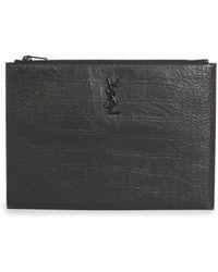 Saint Laurent - Croc-embossed Leather Ipad Holder - Lyst
