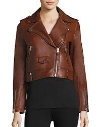 Mackage - Baya Cropped Leather Moto Jacket - Lyst