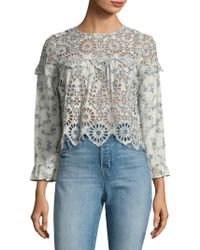 Ganni - Emile Broderie Anglaise Cropped Top - Lyst