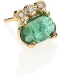 Jacquie Aiche | Green Tourmaline, Diamond & 14k Yellow Gold Three-bezel Single Stud Earring | Lyst