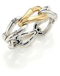 John Hardy | Bamboo 18k Yellow Gold & Sterling Silver Link Bangle Bracelet | Lyst