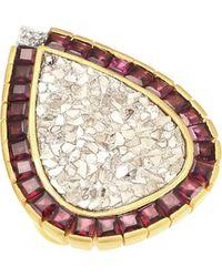 Shana Gulati - 18k Goldplated Diamonds & Garnet Maiden Ring - Lyst
