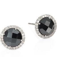 Meira T - Diamond, Hematite & 14k White Gold Stud Earrings - Lyst