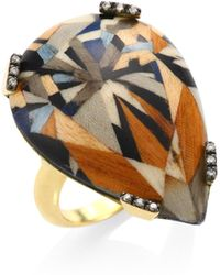 Silvia Furmanovich - 18k Yellow Gold And Diamonds Marquetry Ring - Lyst