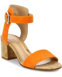 Gianvito Rossi - Suede Cork-heel City Sandals - Lyst