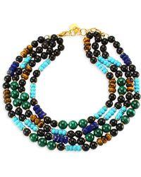 Nest - Malachite Lapis Turquoise Multi Strand Necklace - Lyst