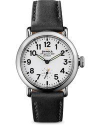 Shinola - Runwell Stainless Steel & Leather Strap Watch/black - Lyst