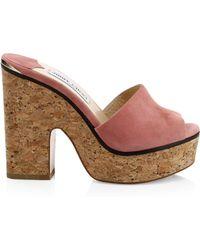 697c2aa6b730e Lyst - Jimmy Choo  panna  Cork Wedge Patent Leather Sandals