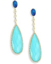 Meira T - Diamond, Opal, Turquoise Doublet & 14k Yellow Gold Drop Earrings - Lyst