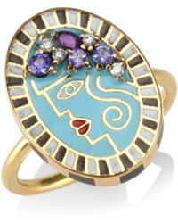 Holly Dyment - Portrait 18k Yellow Gold & Diamonds Ring - Lyst