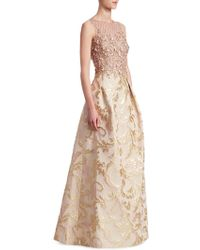 Teri Jon - Embellished Floral Gown - Lyst