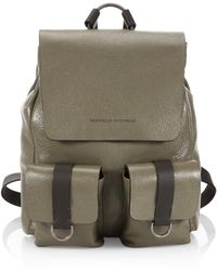 Brunello Cucinelli - Glossy Leather Backpack - Lyst