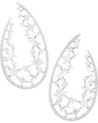 Adriana Orsini - Azure Rhodium Wrap Hoop Earrings - Lyst
