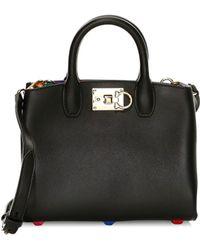 594efbd6f6cc Ferragamo - Women s Mini The Studio Rainbow Interior Leather Top Handle Bag  - Black - Lyst